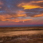 Sunrise On The Plains - Moon Over Prairie In Eastern Colorado Poster
