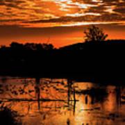Sunrise Over A Pond Poster