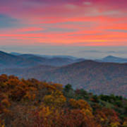 Sunrise Over Blue Ridge Parkway. Poster