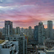 Sunrise Over Downtown Vancouver Bc Poster