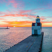 Sunrise Over Lake Michigan Scenic Harbor, Lighthouse With Seagulls. Poster