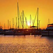 Sunrise Over Long Beach Harbor - Mississippi - Boats Poster