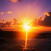 Sunrise Over Ocean, Sandy Beach Park Poster