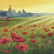 Sunrise Over Poppies Poster