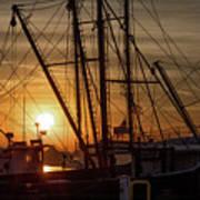 Sunrise Over The New Bedford Harbor Poster