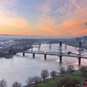 Sunrise Over Willamette River By Portland Poster
