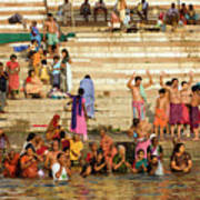 Sunrise Praying In River Ganges Poster