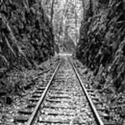 Sunrise Rails Black And White Vertical Panorama Poster