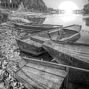 Sunrise Rowboats  In Black And White Poster