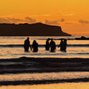 Sunrise Seascape With People Silhouettes Poster