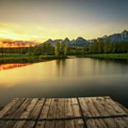Sunset Above A Lake In High Tatra Mountains In Slovakia Poster