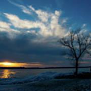 Sunset Along The Mississippi River Poster
