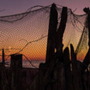 Sunset And Fishing Net Cape May New Jersey Poster