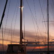Sunset And Sailboat Poster