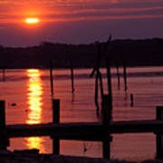 Sunset At Colonial Beach Poster by Clayton Bruster