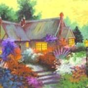 Sunset At Farm House Poster