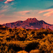 Sunset At Four Peaks Poster