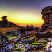 Sunset At Great Staple Tor On Dartmoor Poster