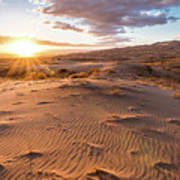 Sunset At Kelso Dunes Poster