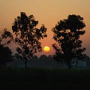 Sunset At Lumbini Poster