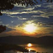 Sunset At Multnomah Falls Poster