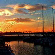 Sunset At Newport Beach Harbor Poster