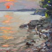 Sunset At Niagara River Poster