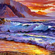 Sunset At Shipwreck Beach Poster