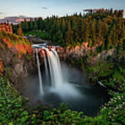 Sunset At Snoqualmie Falls Poster