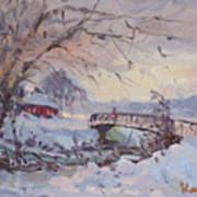 Sunset At Snow-covered Niawanda Park Poster
