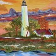 Sunset At St. Mark's Lighthouse Poster