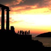 Sunset At Temple Of Poseidon Poster