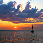 Sunset At The Bell Buoy Poster