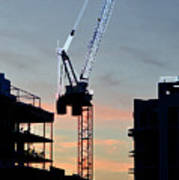 Sunset At The Construction Site 3  Poster