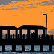 Sunset At The Fishing Pier Poster