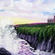 Sunset At The Santa Cruz Lighthouse Poster
