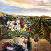 Sunset At The Vineyards Poster