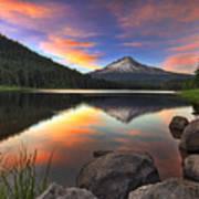 Sunset At Trillium Lake With Mount Hood Poster