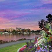 Sunset At Victoria Bc  Inner Harbour Poster