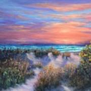 Sunset Beach Painting With Walking Path And Sand Dunesand Blue Waves Poster