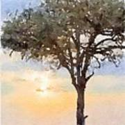 Sunset Behind Acacia Tree Digital Watercolor Poster