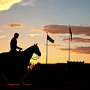 Sunset Behind Will Rogers And Soapsuds Statue At Texas Tech University In Lubbock Poster by Ilker Goksen