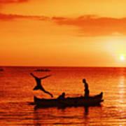 Sunset Canoe Jump Poster