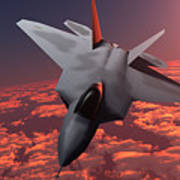 Sunset Fire F22 Fighter Jet Poster