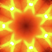 Sunset Firewheel Kaleidoscope Poster
