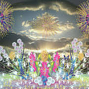 Sunset Flowers And Fireworks Poster
