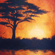 Sunset In Africa In Bright Orange Tones With A Tree Silhouette Beautiful Colorful Painting Poster
