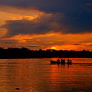 Sunset In Amazon River Poster