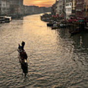 Sunset In Grand Canal Poster
