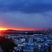 Sunset La Defense Paris France Poster
